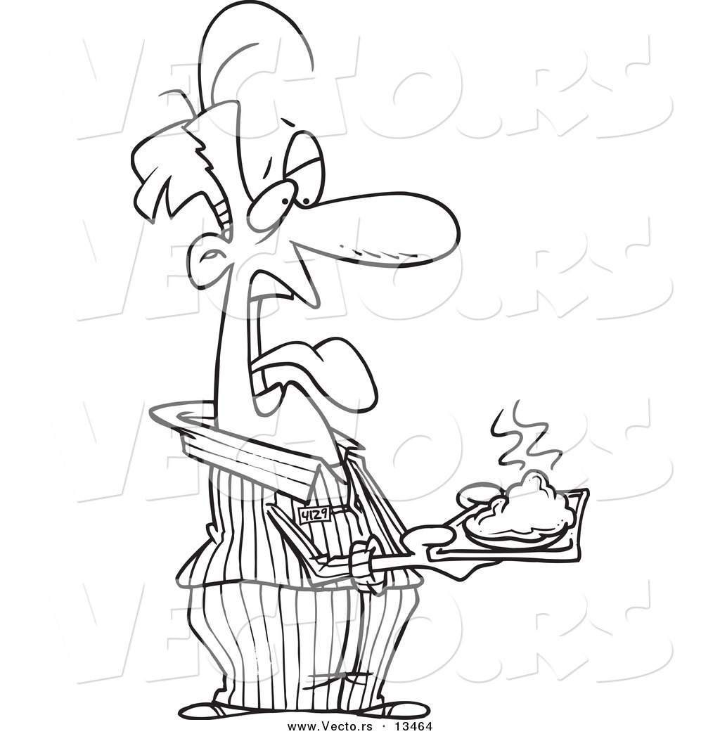1024x1044 Vector A Cartoon Disgusted Male Prisoner Holding A Plate