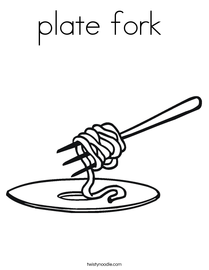 685x886 Plate Fork Coloring Page