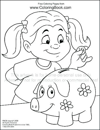 386x500 Play Money Coloring Sheets Page Pages Bank Themed Com Theme B