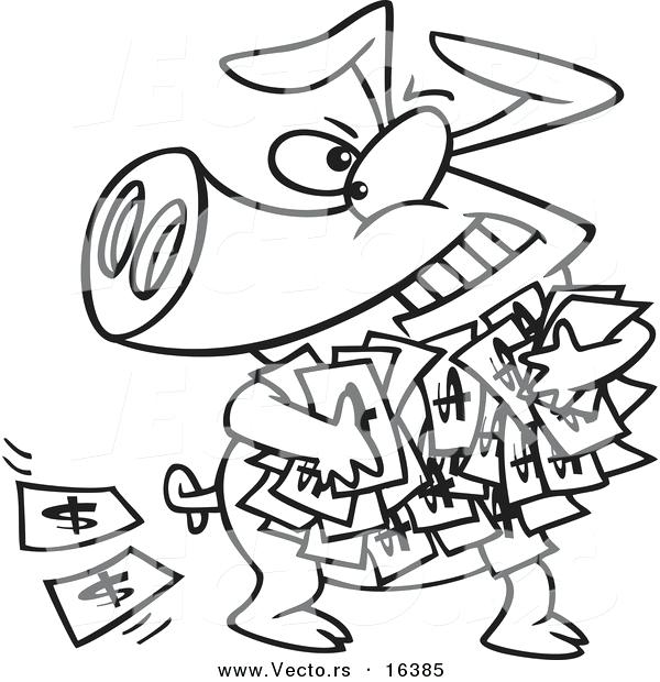 600x620 Vector Of A Cartoon Greedy Pig With Money Outlined Coloring Page