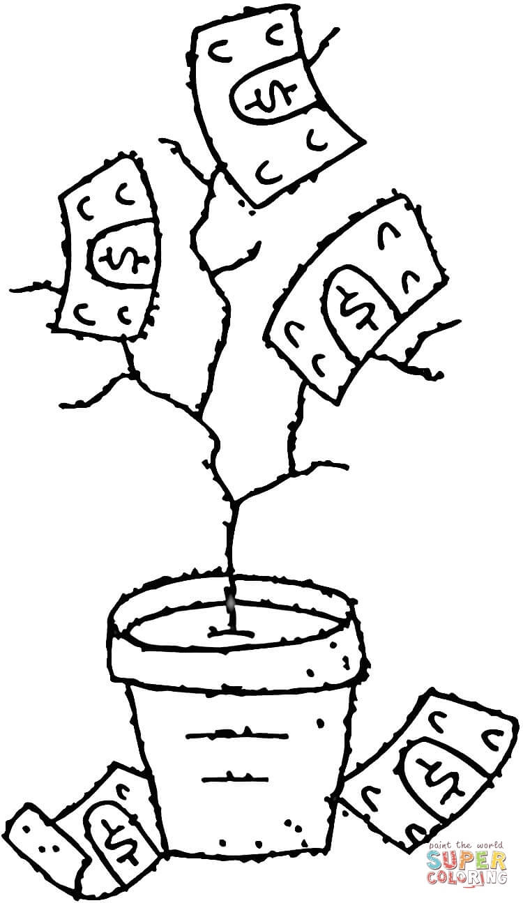 750x1295 Money Tree Coloring Page Free Printable Coloring Pages Money