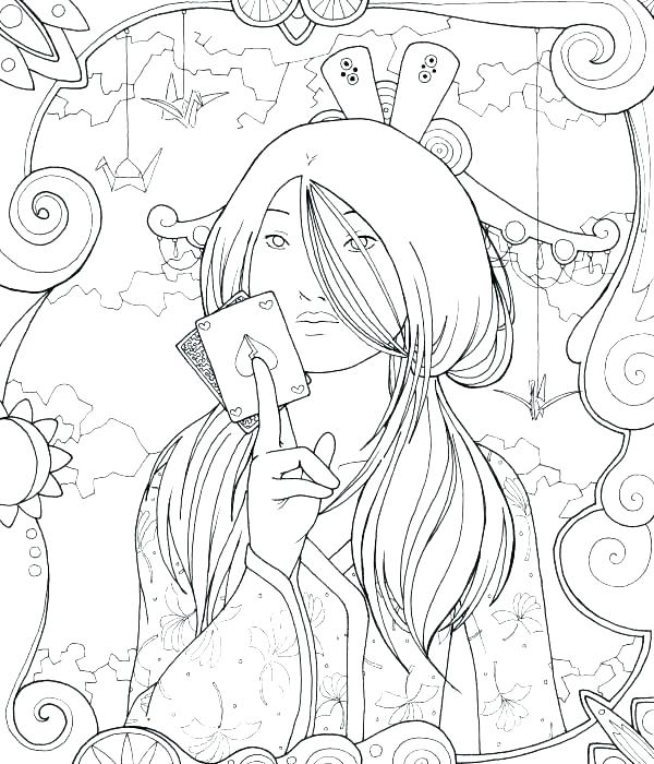 600x700 Geisha Coloring Pages Geisha In Dragonfly Kimono Creative Haven