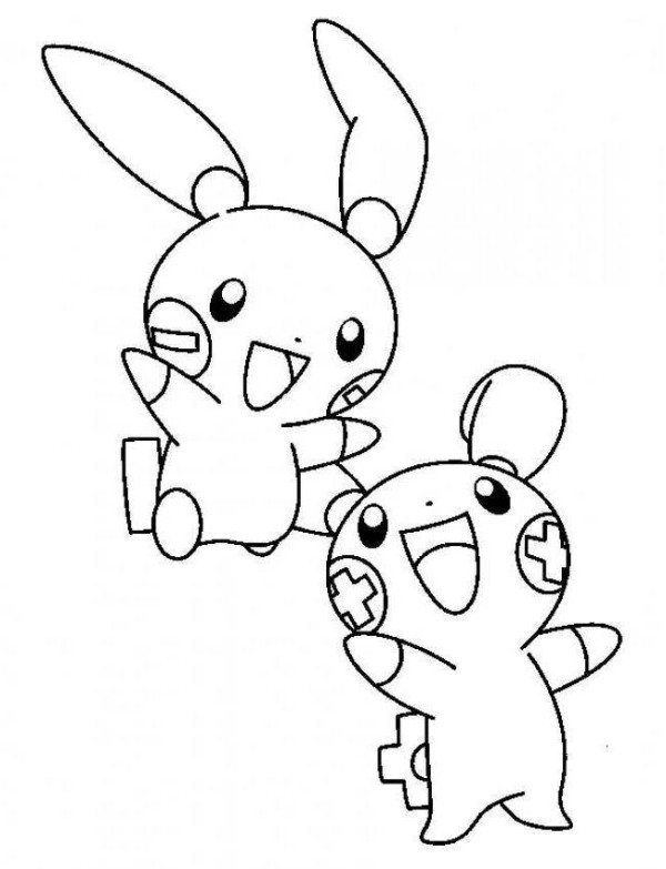 600x783 Plusle And Minun Electric Pokemon Coloring Page Kita