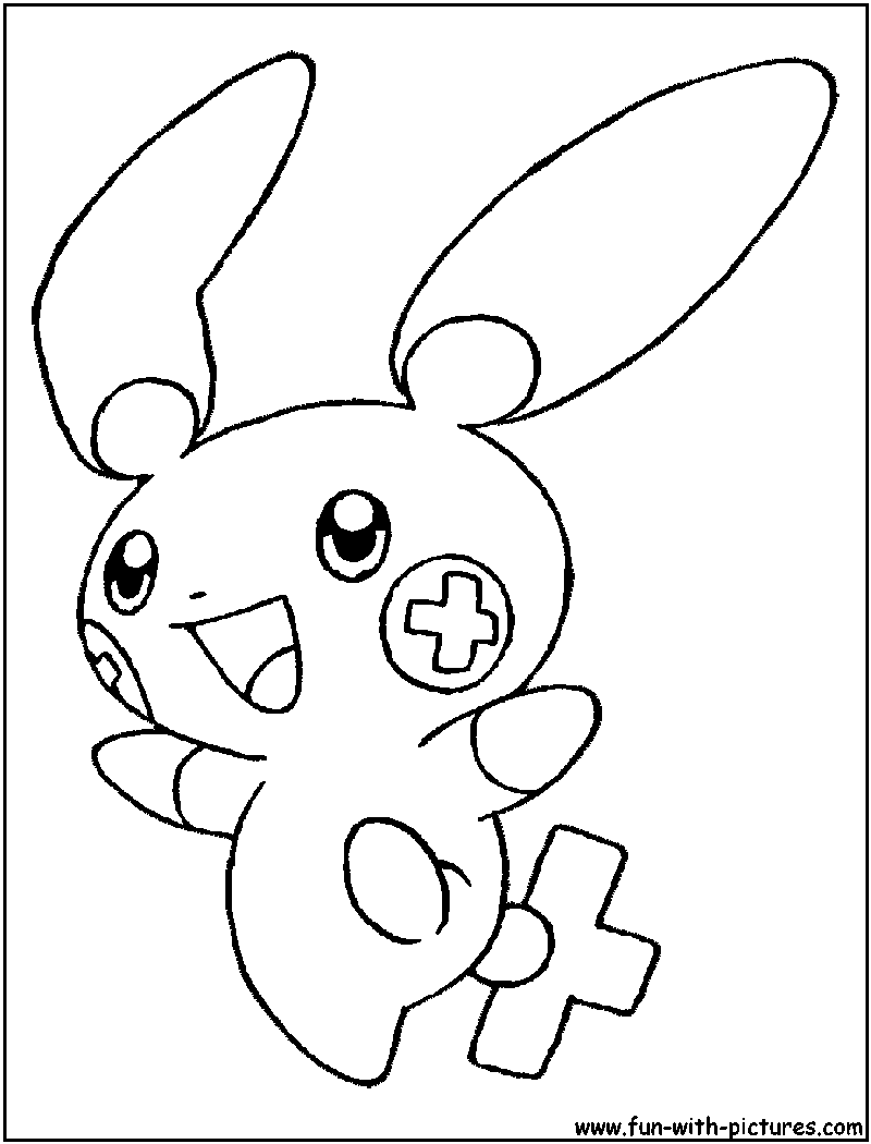 800x1050 Plusle Coloring Page