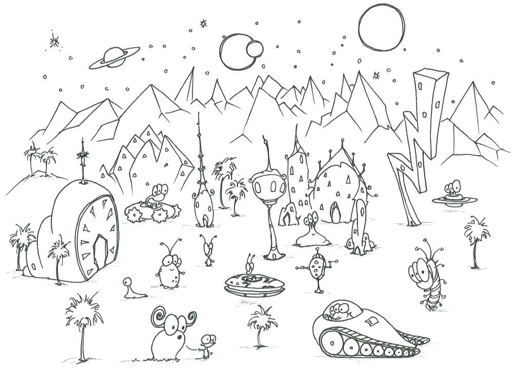 1000x721 Planet Coloring Sheet Coloring Pages Some Aliens On An Alien
