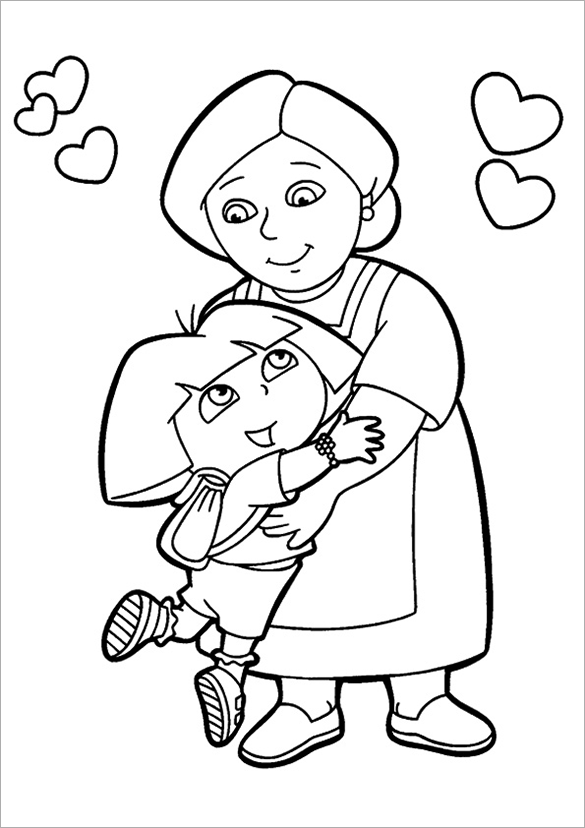 585x828 Dora Coloring Pages Free Printable Word, Pdf, Png