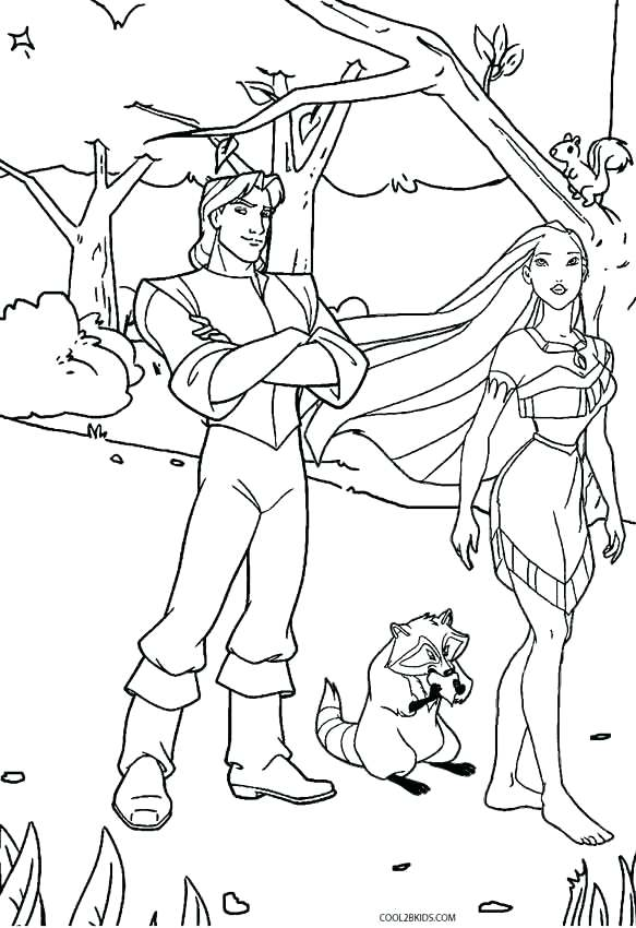 583x850 Pocahontas Coloring Pages Flee With John Smith Historical