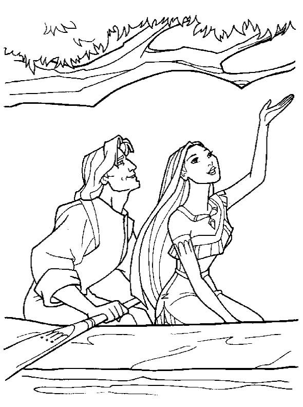 590x792 Pocahontas Date With John Smith Coloring Pages Disney
