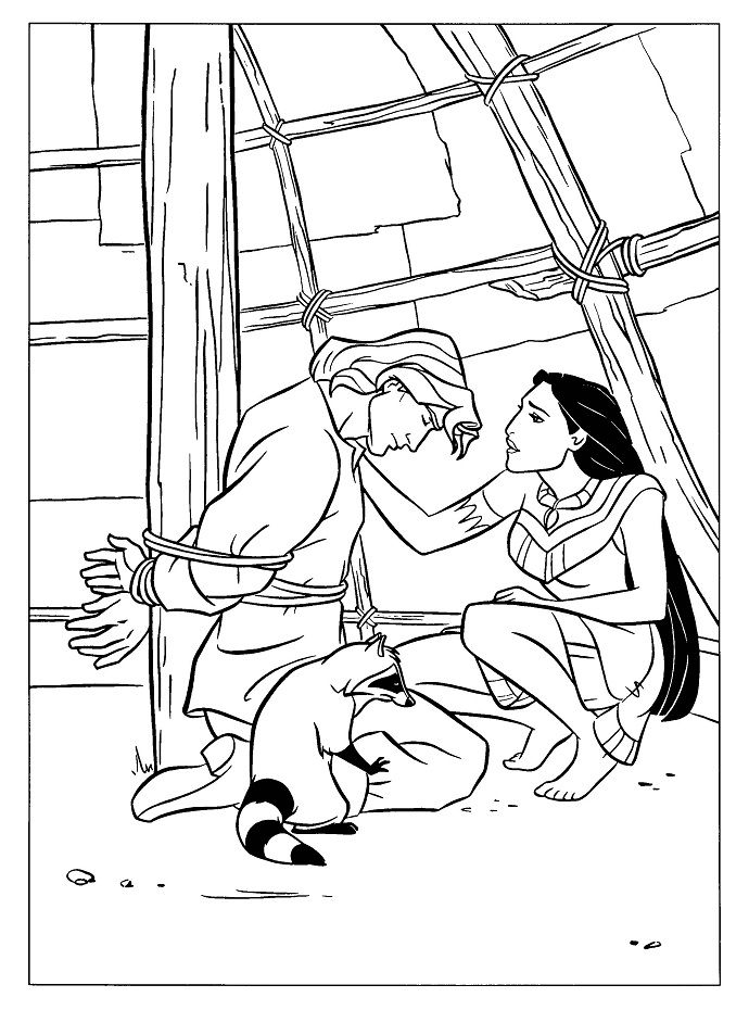 690x930 Pocahontas Saving John Smith Coloring Pages Drawing