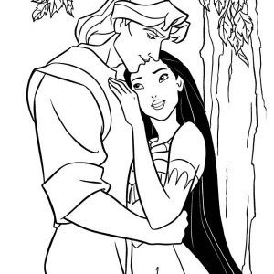 300x300 Happy Pocahontas And John Smith Coloring Page Happy Pocahontas