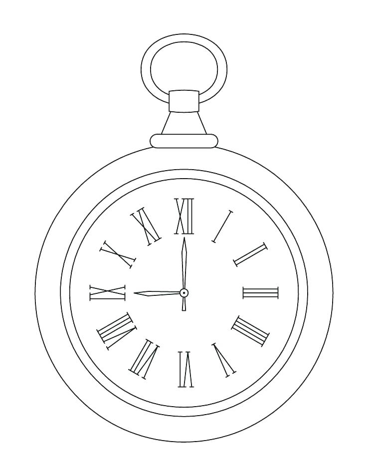 738x954 Clock Face Coloring Page Clock Coloring Page Pocket Clock Coloring