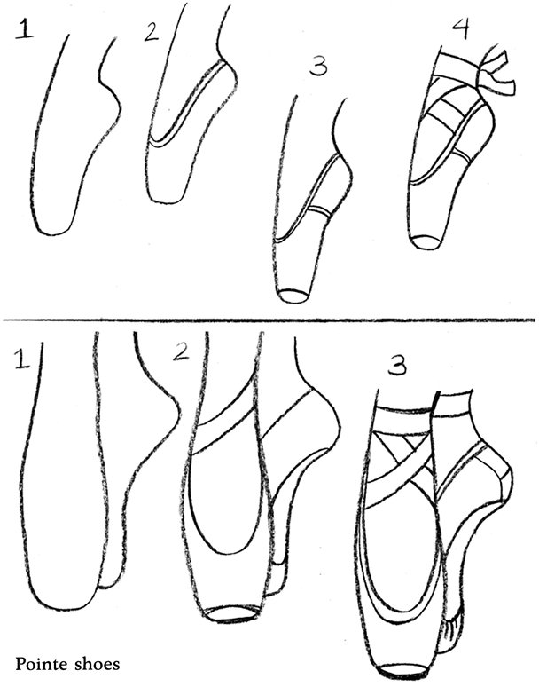 608x774 How To Draw Ballet Pointe Shoes Sketch Template, Pointe Shoes