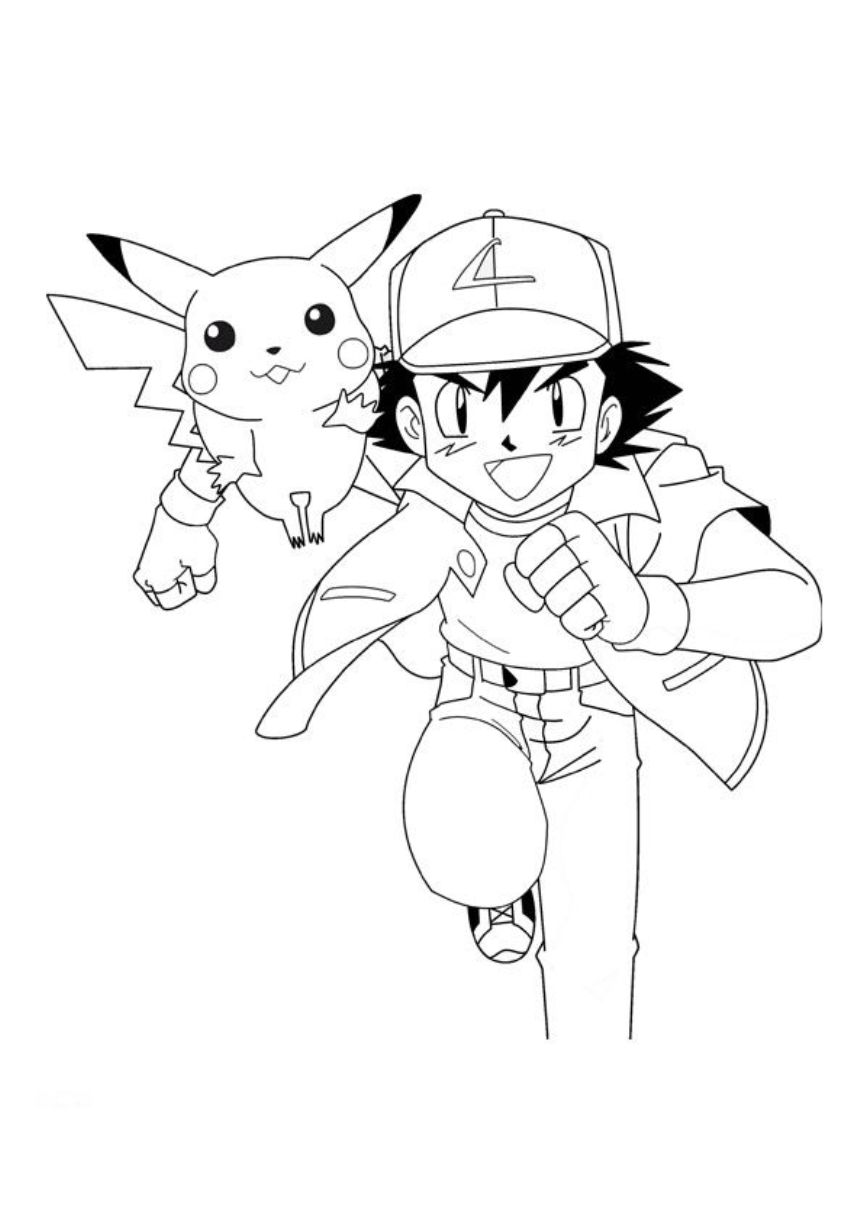 863x1221 Ash And Pikachu Coloring Page Ash And Pikachu Ash