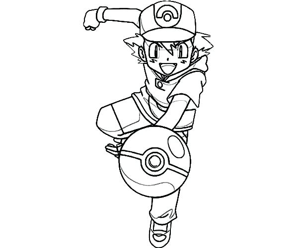 600x500 Ash Ketchum Coloring Pages Ash Throw Ball On Coloring Page Pokemon