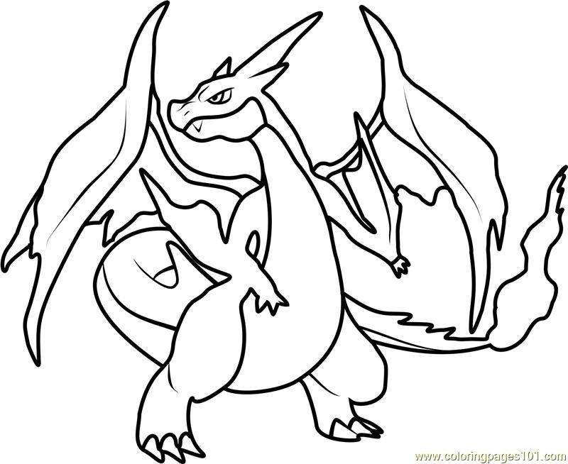 800x654 Mega Charizard Y Pokemon Coloring Page