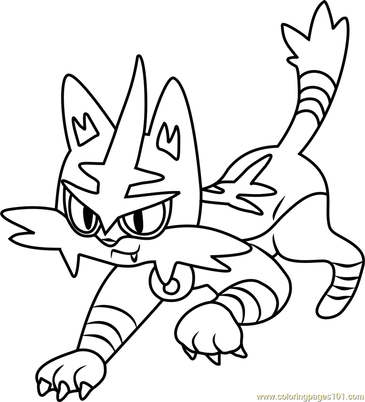 727x800 Torracat Pokemon Sun And Moon Coloring Page