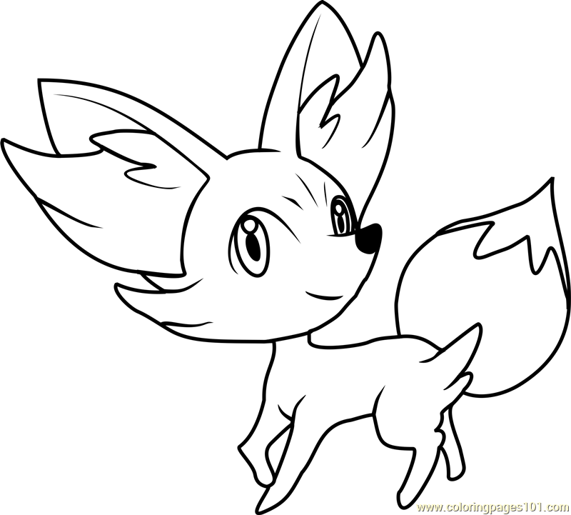 800x721 Fennekin Pokemon Coloring Page