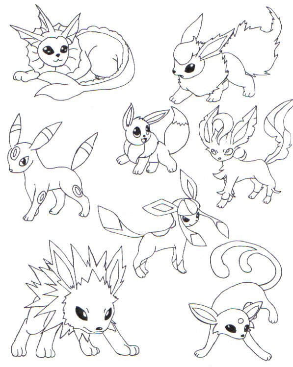597x749 Pokemon Eevee Evolutions Coloring Pages All Art