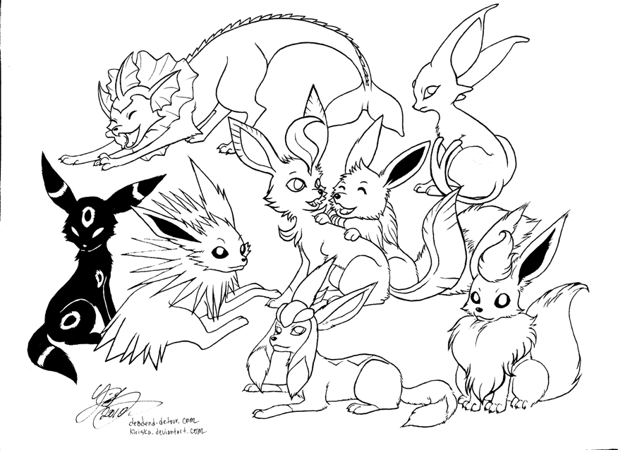 876x638 Eevee Evolutions Coloring Pages Pokemon All Get Bubbles