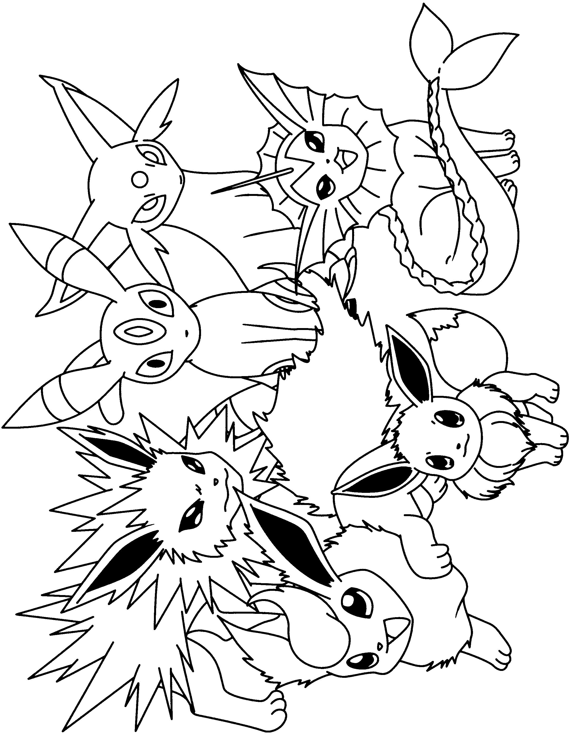 2400x3100 Pokemon To Coloring Pages Eevee Evolutions