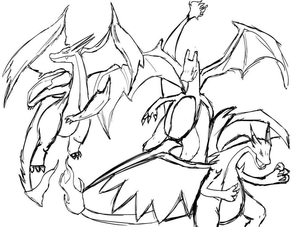 1024x768 Pokemon Mega Charizard Coloring Pages