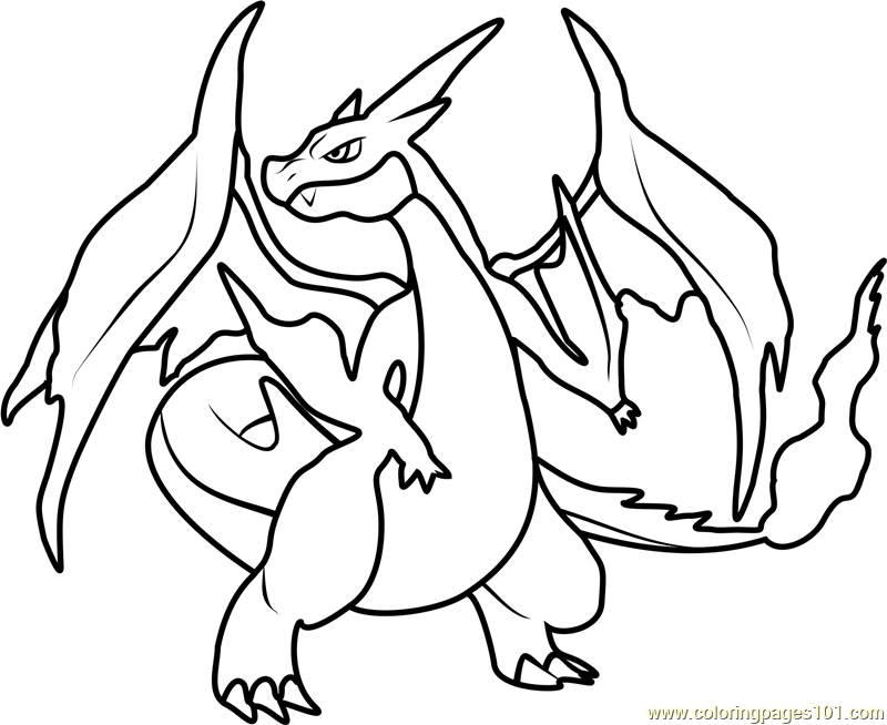 800x654 Mega Charizard Ex Coloring Page Free