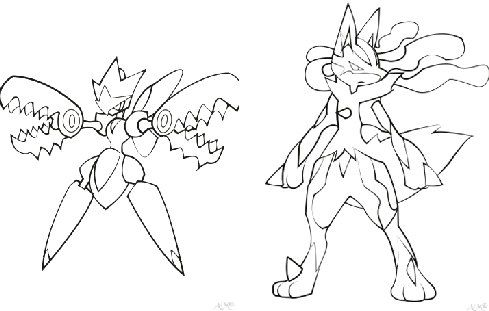 489x311 Pokemon Coloring Pages Mega Lucario Printable To Good Page Photo