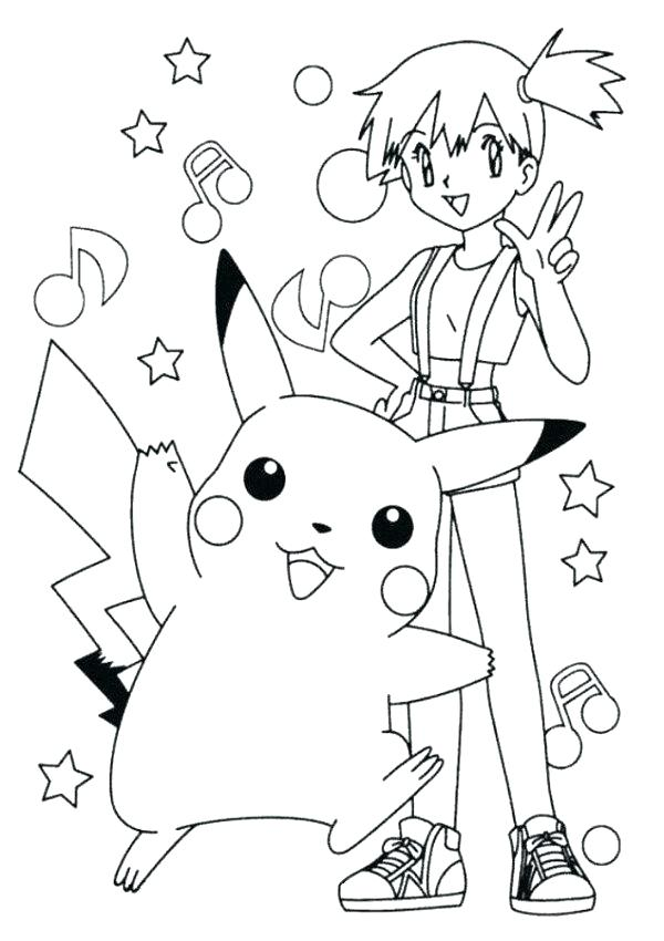 600x850 Pokemon Coloring Pages Pikachu And Ash Cute Page Misty