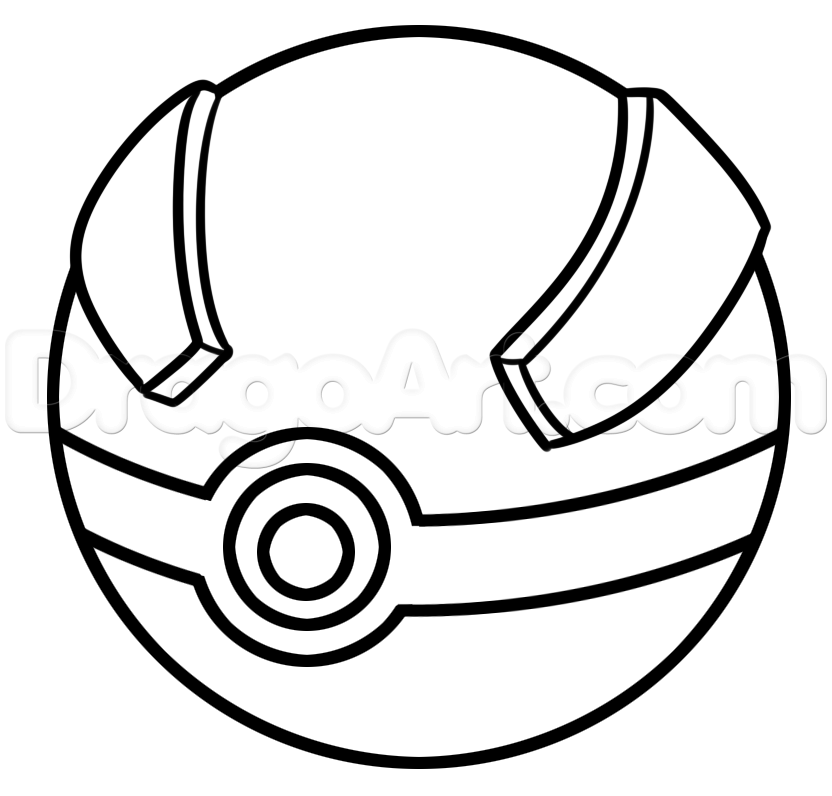 832x796 How To Draw A Great Ball From Pokemon Step