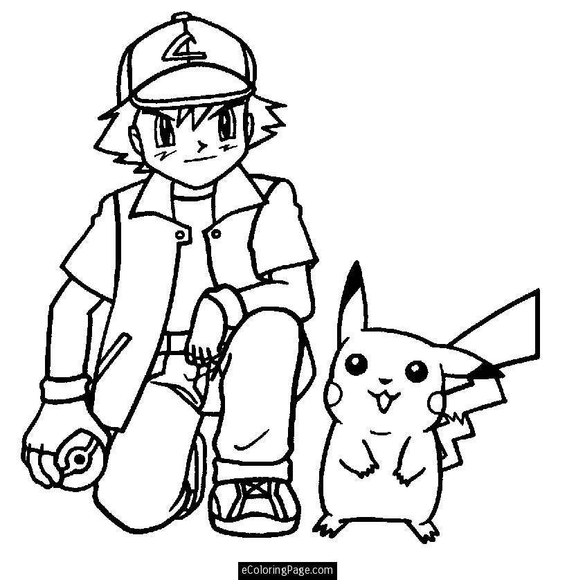 832x838 Drawing Ash With Hat And Pikachu Also Pokeball Coloring Pages