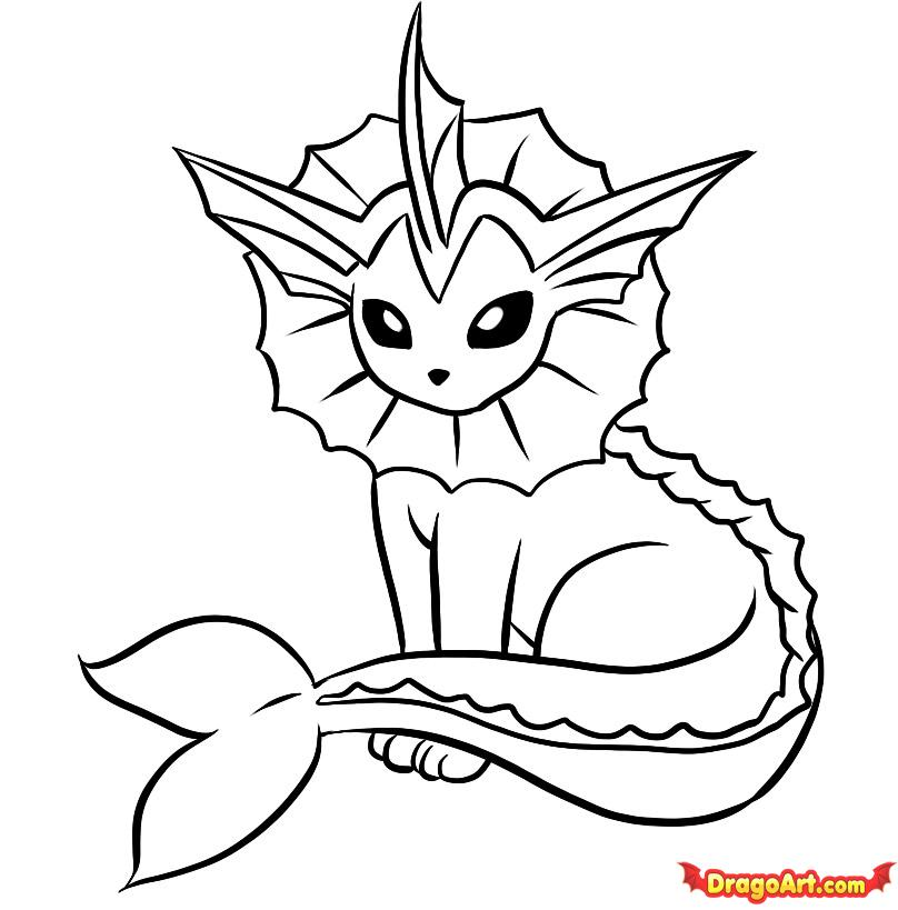 808x819 Pokemon Vaporeon Coloring Pages