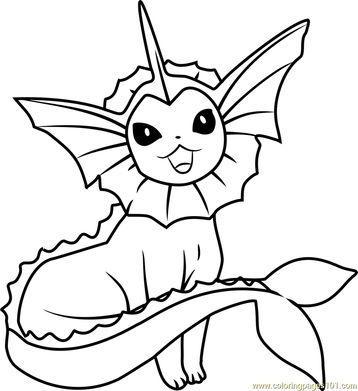 732x800 Vaporeon Pokemon Coloring Page