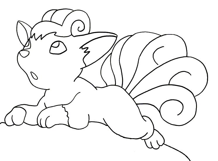 745x551 Cute Vulpix Pokemon Coloring Pages