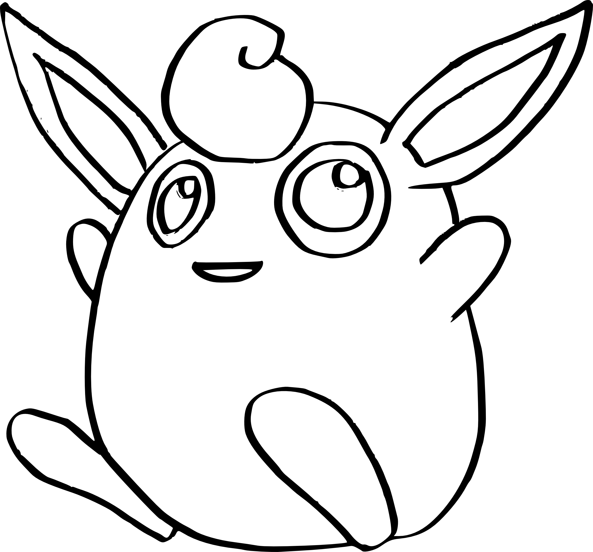 2419x2251 Simplistic Wigglytuff Coloring Pages