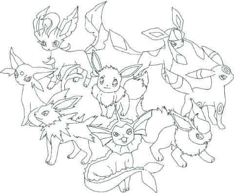 480x397 Eevee Evolutions Coloring Pages Pokemon Coloring Pages All Eevee