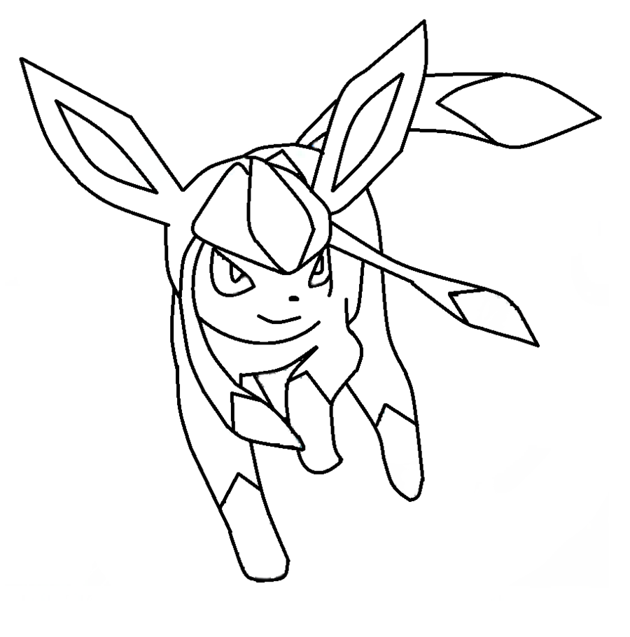 900x910 Emerging Glaceon Coloring Pages Template
