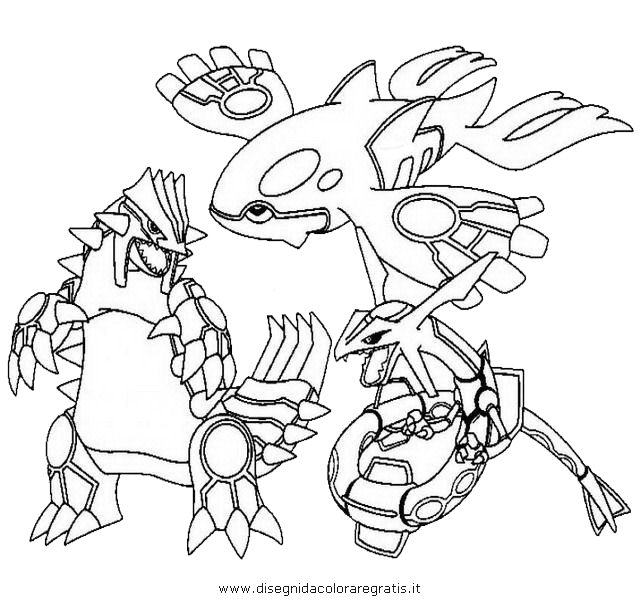 640x600 Kyogre Groudon Rayquaza Pokemon Coloring Page
