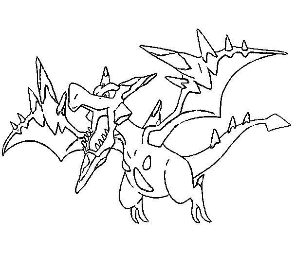 608x550 Coloring Page Mega Evolved Pokemon Mega Aerodactyl