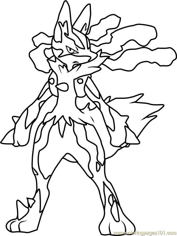 600x800 Mega Lucario Pokemon Coloring Page