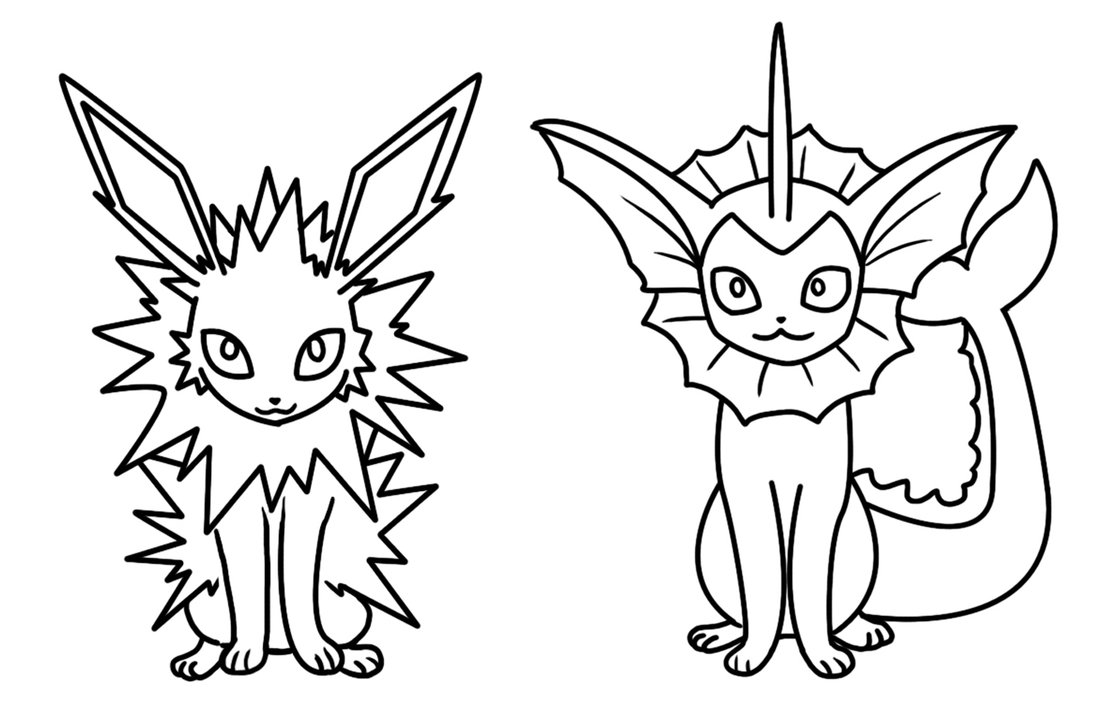 1105x722 Jolteon And Vaporeon Coloring Page