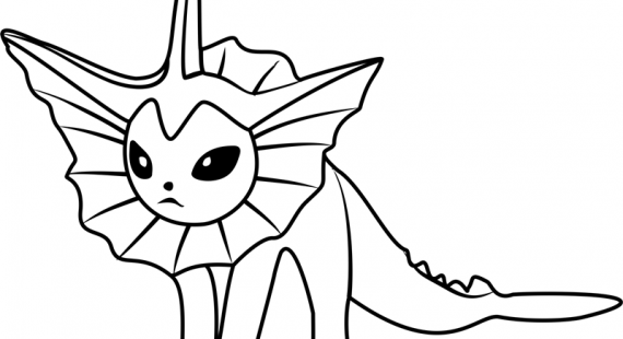 570x310 Easily Vaporeon Coloring Pages