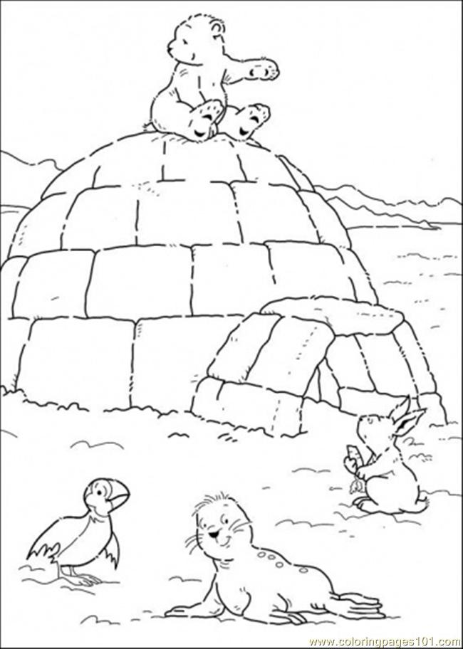 650x912 Polar Bear Is Sitting On The House Coloring Page