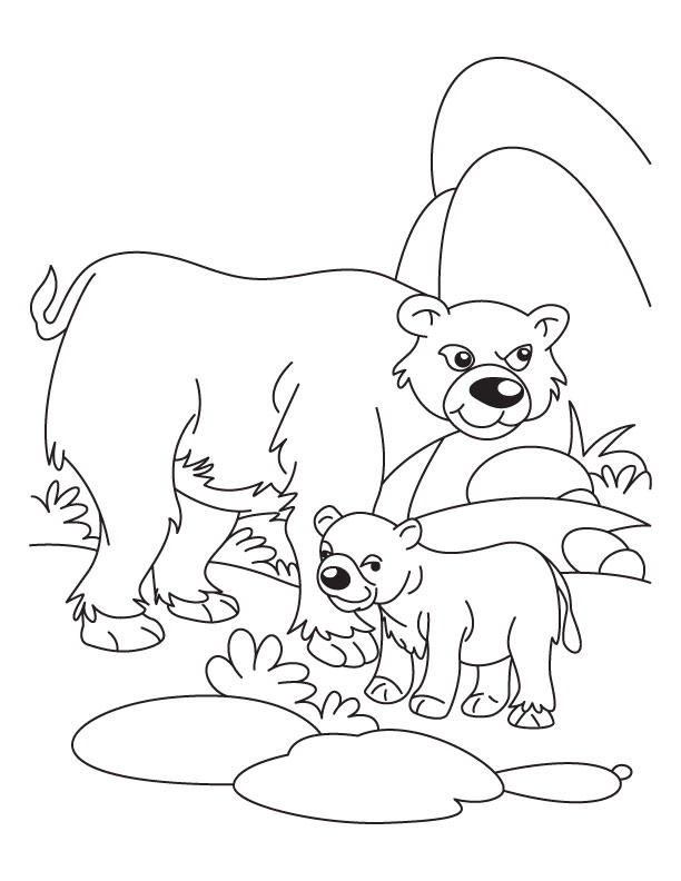 612x792 Cub With His Father Bear Waiting For Mother Bear Coloring Page