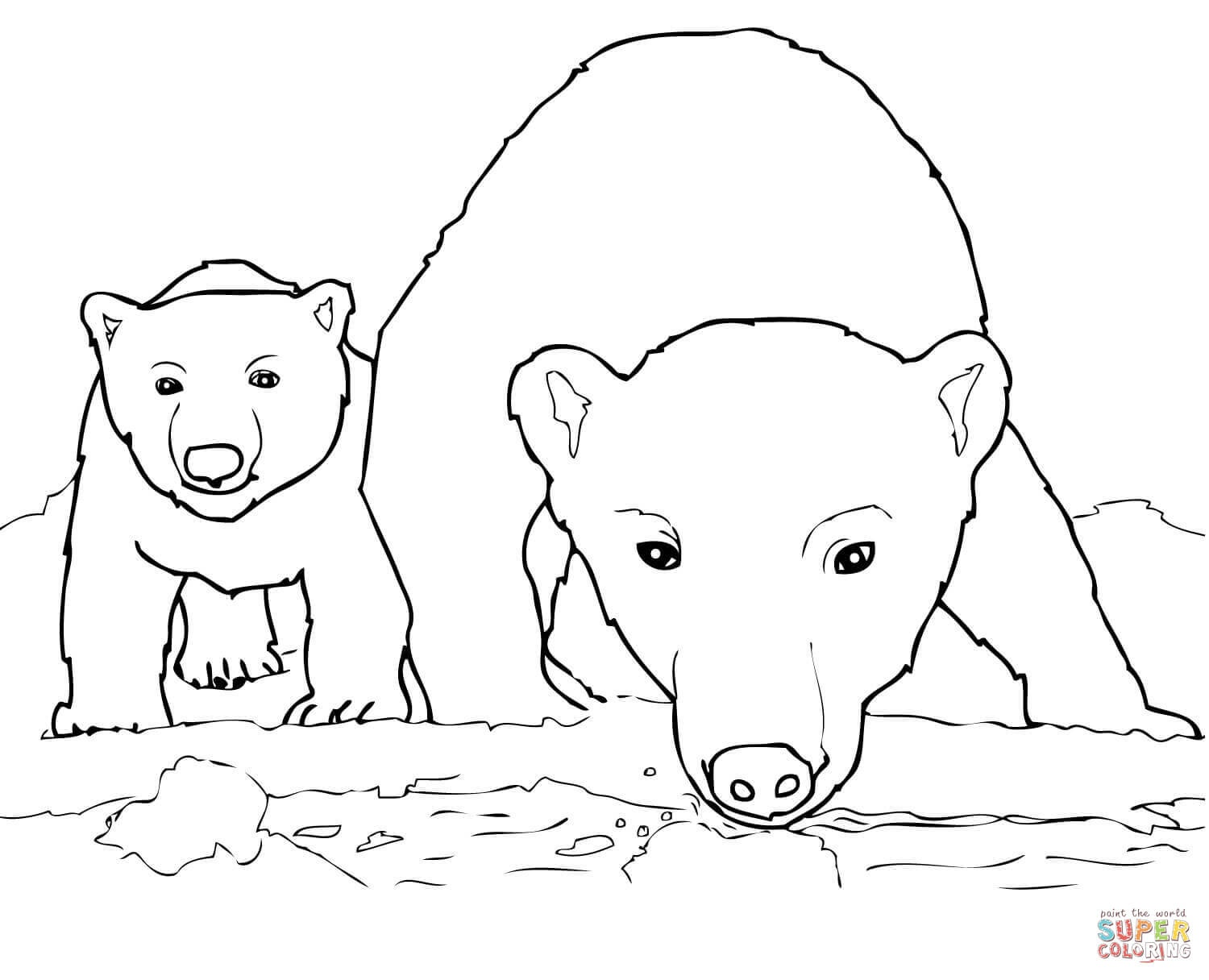 1500x1216 Lovely Curious Polar Bear Mother And Cub Coloring Page Free