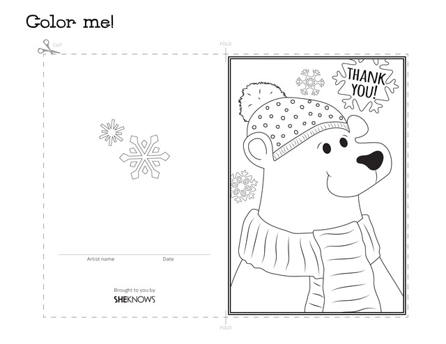 640x494 Polar Bear Holiday Thank You Card