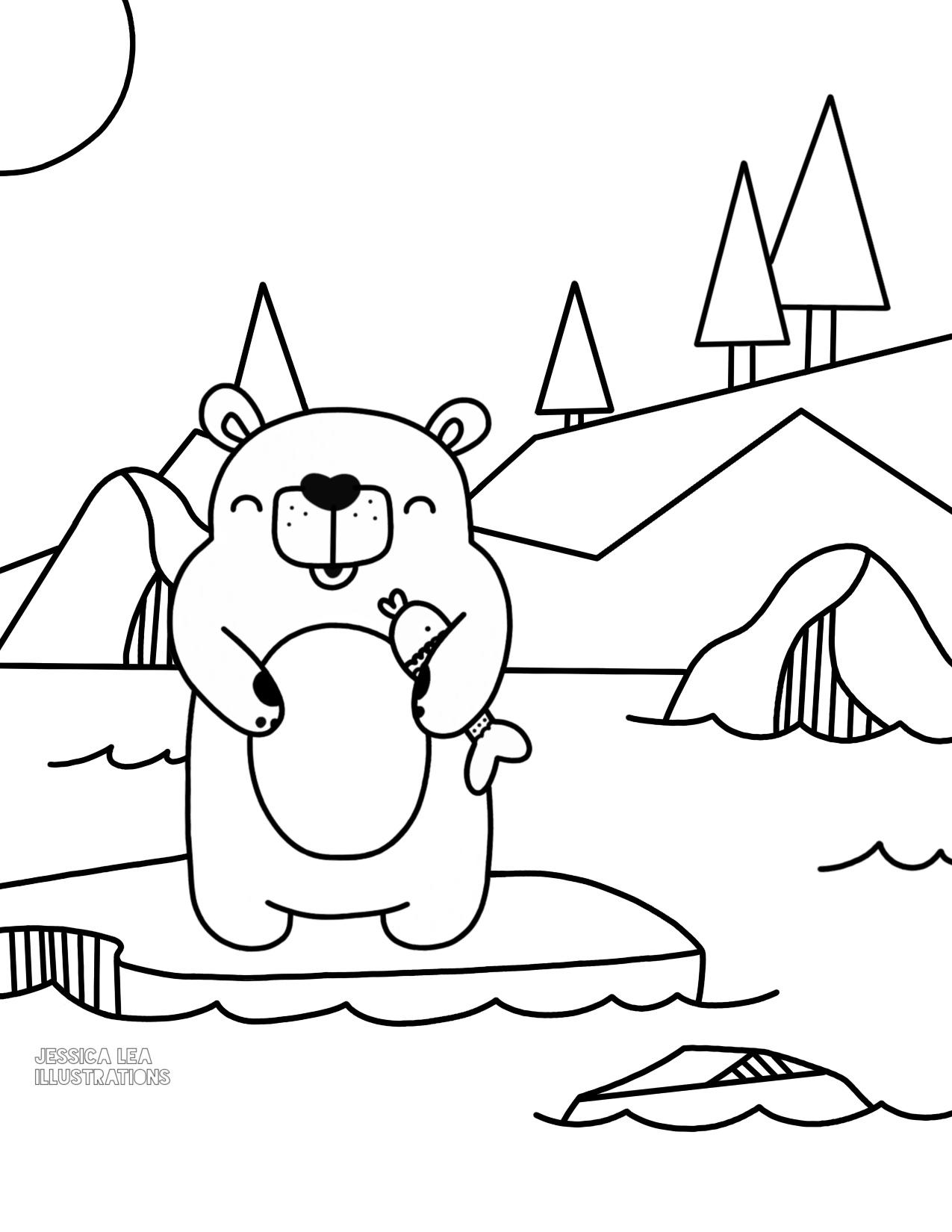 1275x1650 Barry P White Polar Bear Printable Coloring Page