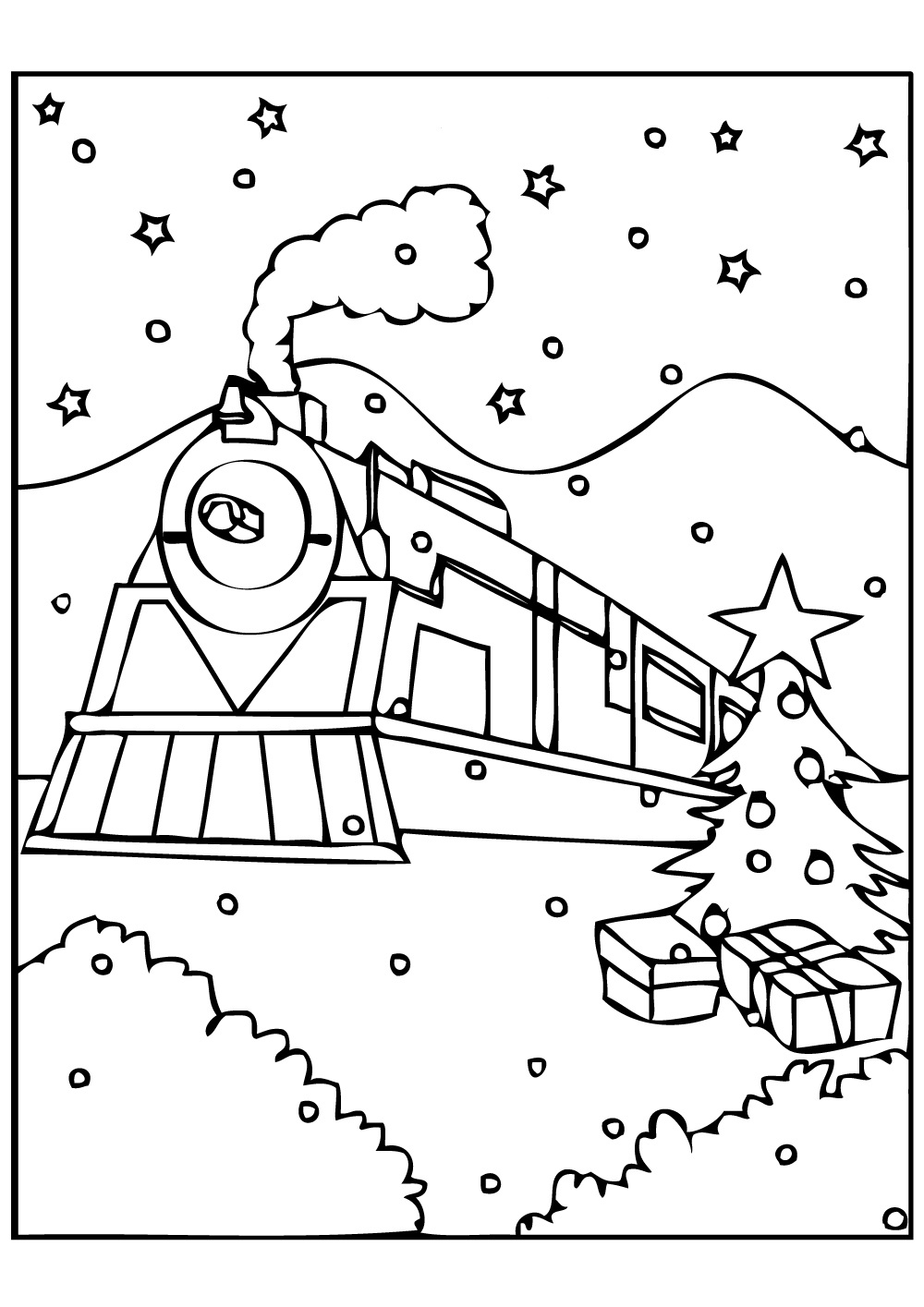1000x1415 Polar Express Train Coloring Page