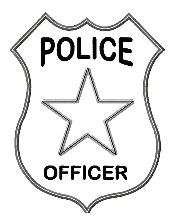 600x766 Police Badge Coloring Page