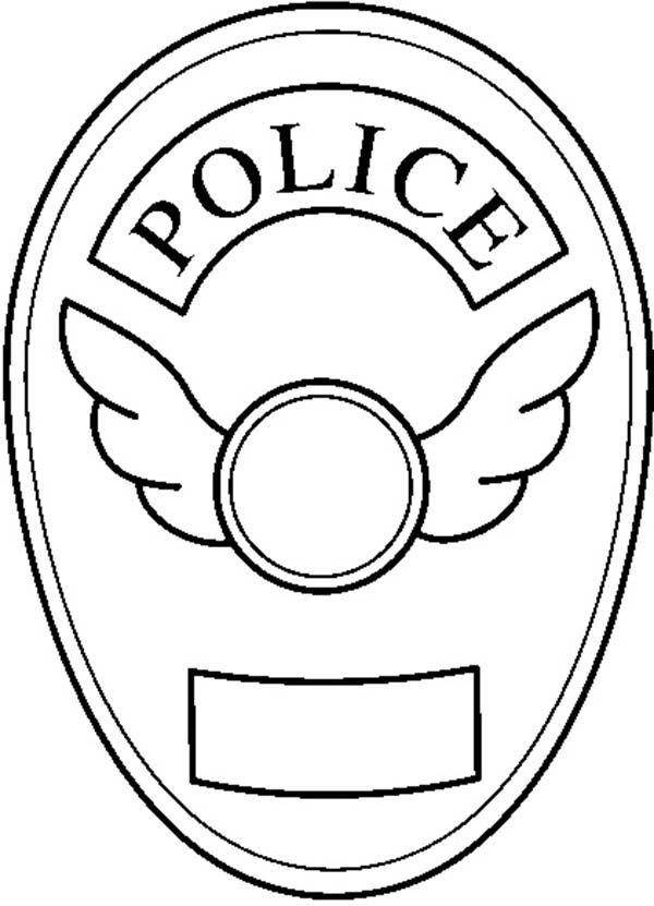 600x831 Blank Police Badge Coloring Page In Police Badge Coloring Page