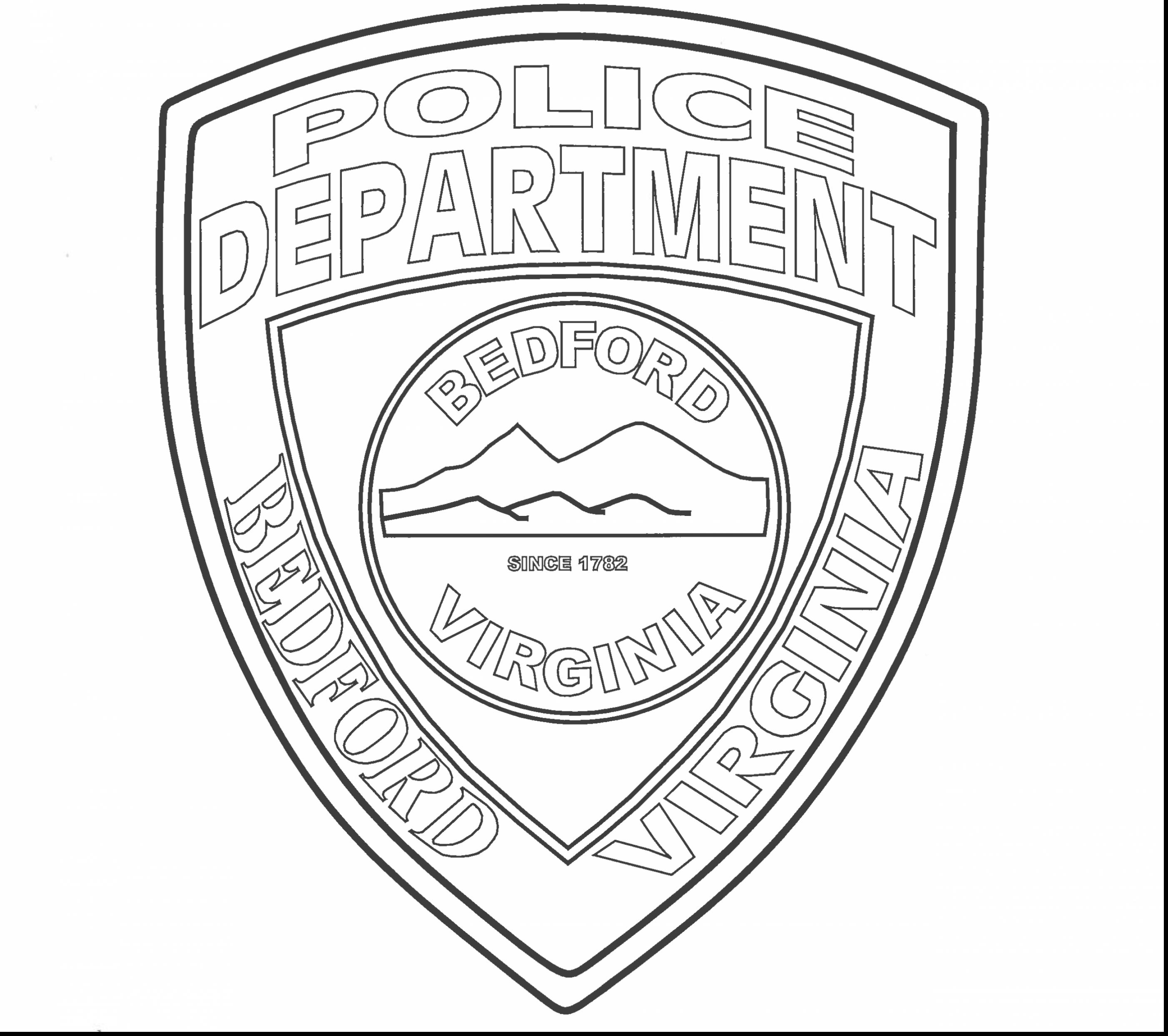 2805x2488 Police Badge Coloring Page